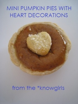 mini pumpkin pie with heart