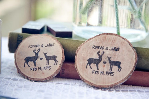 Wood Slice Save the Dates from Red Cloud Boutique